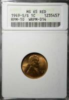 1949 S/S MS65 RD LINCOLN CENT 457 RARE UNCIRCULATED PENNY RP