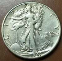 1942-D WALKING LIBERTY SILVER HALF DOLLAR AU ALMOST UNCIRCULATED US COIN - TCC