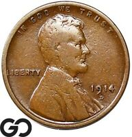 1914 D LINCOLN CENT WHEAT PENNY SOUGHT AFTER CHOICE VF  /XF