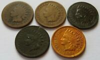 1866 1870 1871 1873 1894 INDIAN HEAD CENTS 5 VINTAGE PENNY 1