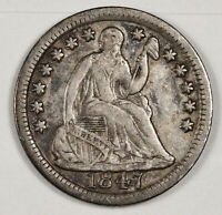 1847 LIBERTY SEATED HALF DIME.  NATURAL UNCLEANED V.F.-X.F.  142902