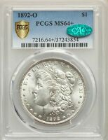 1892-O $1 MORGAN SILVER DOLLAR - PCGS MINT STATE 64 CAC APPROVED CERTIFIED US  COIN