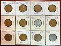 LOT OF 12X USA LINCOLN WHEAT PENNIES - DATES: 1919 TO 1952