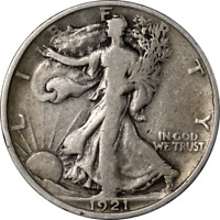 1921-P WALKING LIBERTY HALF CHOICE VG/F KEY DATE SUPERB EYE APPEAL STRONG STRIKE