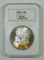 1881-S MORGAN SILVER DOLLAR  NGC MINT STATE 64   OLD