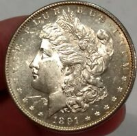 1891-S BU PROOFLIKE 63 MORGAN SILVER DOLLAR.