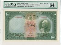 CENTRAL BANK GREAT BRITAIN  1000 RIALS  1938  SPECIMEN PICK38AS.  PMG  64