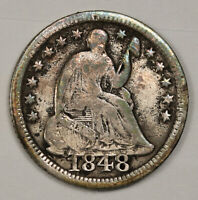 1848 LIBERTY SEATED HALF DIME.  LARGE DATE.  FINE DETAIL.  143044
