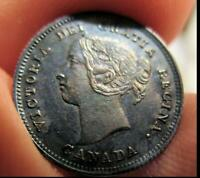 1891 CANADA 5 CENT DOUBLE PUNCHED 9 NICE