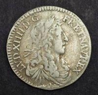 1660 ROYAL FRANCE LOUIS XIV. NICE SILVER 10 SOLS  1/12 ECU
