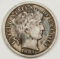 1894 BARBER DIME.  FULL LIBERTY UNCLEANED FINE.  143364