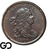 1806 HALF CENT DRAPED BUST  THIS NICE CHOICE AU  EARLY COPPER NICE