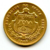 COSTA RICA 1866 GOLD 2 PESOS  COIN OF CENTRAL AMERICA