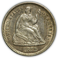 1872 SEATED LIBERTY HALF DIME. LUSTROUS ABOUT UNCIRCULATED.
