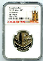 2019 GREAT BRITAIN 50P NGC MS69 DPL DEEP PROOF LIKE FIRST RE