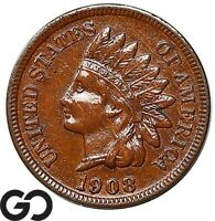1908 S INDIAN HEAD CENT PENNY CHOICE AU BETTER DATE COLLECTO