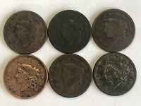 6 1830S BRAIDED HAIR LARGE CENTS PENNY ESTATE FIND NO DUPLIC