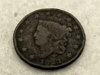 1823 CORONET HEAD LARGE CENT ESTATE FIND PENNY 1C
