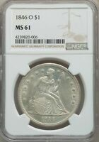1846-O US SEATED LIBERTY SILVER DOLLAR $1 - NGC MINT STATE 61