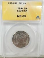 1994 SR SOUTH AFRICA 5 RAND NELSON MANDELA INAUGURATION COIN  ANACS  MINT STATE 65