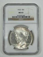 1922 PEACE DOLLAR CERTIFIED NGC MINT STATE 63 SILVER DOLLAR