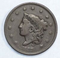 1837 CORONET HEAD LARGE CENT WITH MEDIUM LETTERS FINE 1-CENT