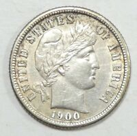 1900-S BARBER DIME ALMOST UNCIRCULATED SILVER 10C