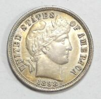 1898 BARBER DIME ALMOST UNCIRCULATED SILVER 10C