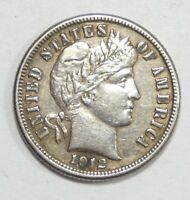 BARGAIN 1912-D BARBER DIME ALMOST UNCIRCULATED SILVER 10-CENTS