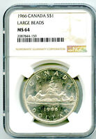 1966 $1 CANADA SILVER DOLLAR NGC MS64 LARGE BEADS VOYAGEUR