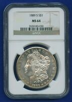 1889 S NGC MINT STATE 64 MORGAN SILVER DOLLAR $1  KEY DATE 1889-S MINT STATE 64 WOW  COIN