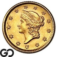 1853 GOLD DOLLAR $1 GOLD LIBERTY TYPE 1 SHARP & LUSTROUS GEM