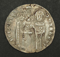 1328 DOGES OF VENICE GIOVANNI SORANZO. BEAUTIFUL SILVER GROSSO COIN. XF AU