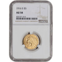 1916 S US GOLD $5 INDIAN HEAD HALF EAGLE   NGC AU58