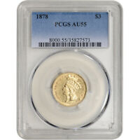1878 US GOLD $3 INDIAN PRINCESS HEAD   PCGS AU55