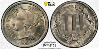 3C THREE CENTS 1889 MINT STATE 66 PCGS NICKEL ULTRA GEM POP 5  MATTE APPEARANCE