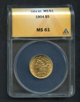 VINTAGE 1904 LIBERTY HEAD GOLD HALF EAGLE $5 GRADED ANACS MS