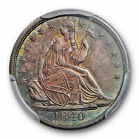 1840 H10C NO DRAPERY SEATED LIBERTY HALF DIME PCGS MS 64 UNCIRCULATED TONED