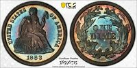 1863 SEATED LIBERTY DIME. PCGS PR64. RAINBOW TONED CIVIL WAR
