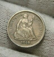 1865S SEATED LIBERTY HALF DIME H10C - 120,000 MINTED,  COIN 8985