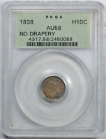 1838 H10C NO DRAPERY SEATED LIBERTY HALF DIME PCGS AU 58 ABOUT UNCIRCULATED OGH