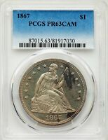 1867 US SEATED LIBERTY SILVER DOLLAR PROOF $1 - PCGS PR63 CAM