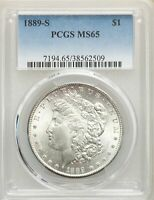 1889-S US MORGAN SILVER DOLLAR $1 - PCGS MINT STATE 65