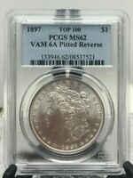 1897 MORGAN SILVER DOLLAR VAM 6A PCGS MINT STATE 62 PITTED REVERSE BIN SHIPS FREE