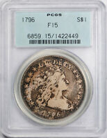 1796 $1 DRAPED BUST DOLLAR PCGS F 15 FINE TO  FINE SMALL DATE, LET. OGH