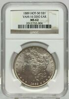 1889 MORGAN SILVER DOLLAR VAM-16 DDO EAR NGC MINT STATE 62 HOT 50 BIN SHIPS FREE