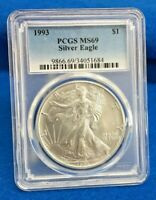 1993 SILVER EAGLE .999 SILVER PCGS MINT STATE 69