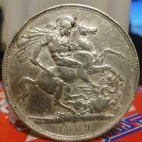 1889 GREAT BRITAIN CROWN KM 765 ST. GEORGE SLAYING DRAGON. LARGE SILVER CROWN