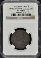 1842 LARGE DATE CORONET, BRAIDED HAIR CENT 1C NGC VF35BN