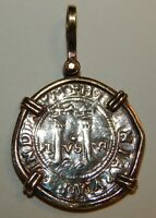 SHIPWRECK COIN / PENDANT MEXICO 2 REAL IN STERLING VERMEIL B